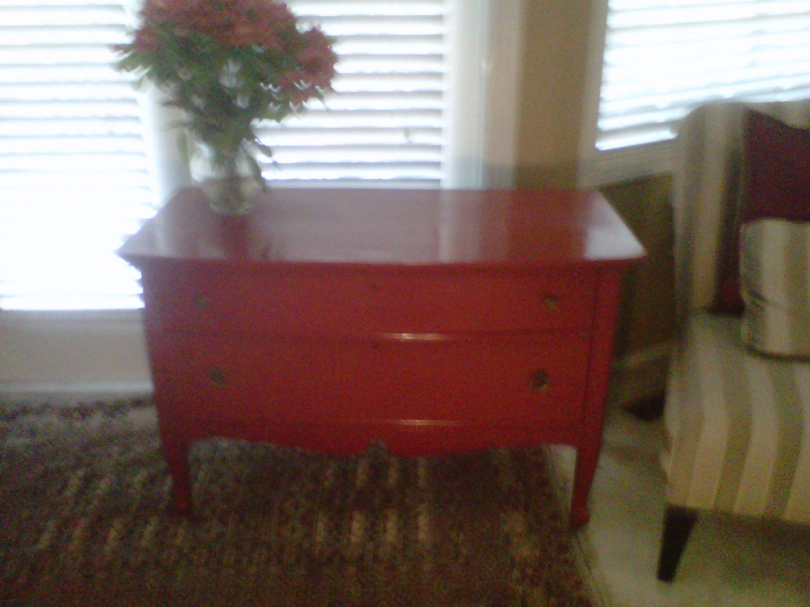 Just finished a pretty dresser in Colonial Red with with a gloss finish.  Used antique hardware with a brass finish.