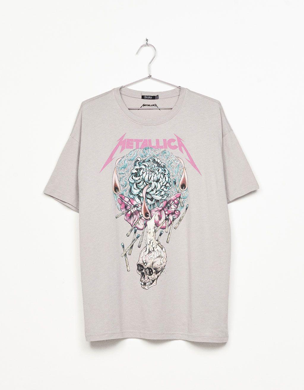 88471170b4  Metallica  top - Pink - Bershka Tunisia T Shirt Metallica