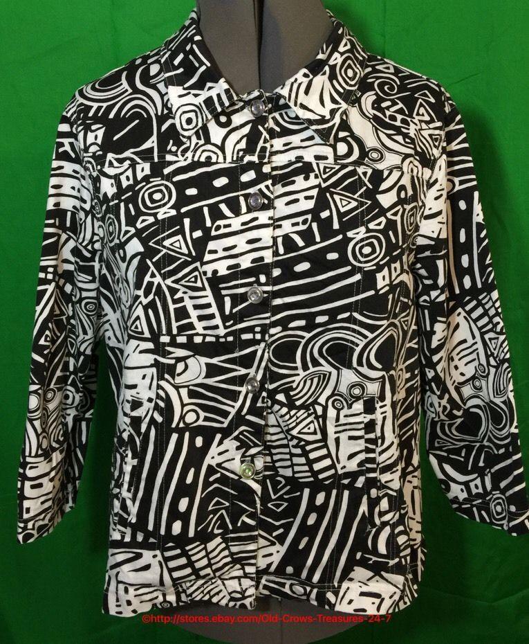 Women's Kaktus Black White Geometric Jacket Rhinestone Buttons Size 2X | eBay