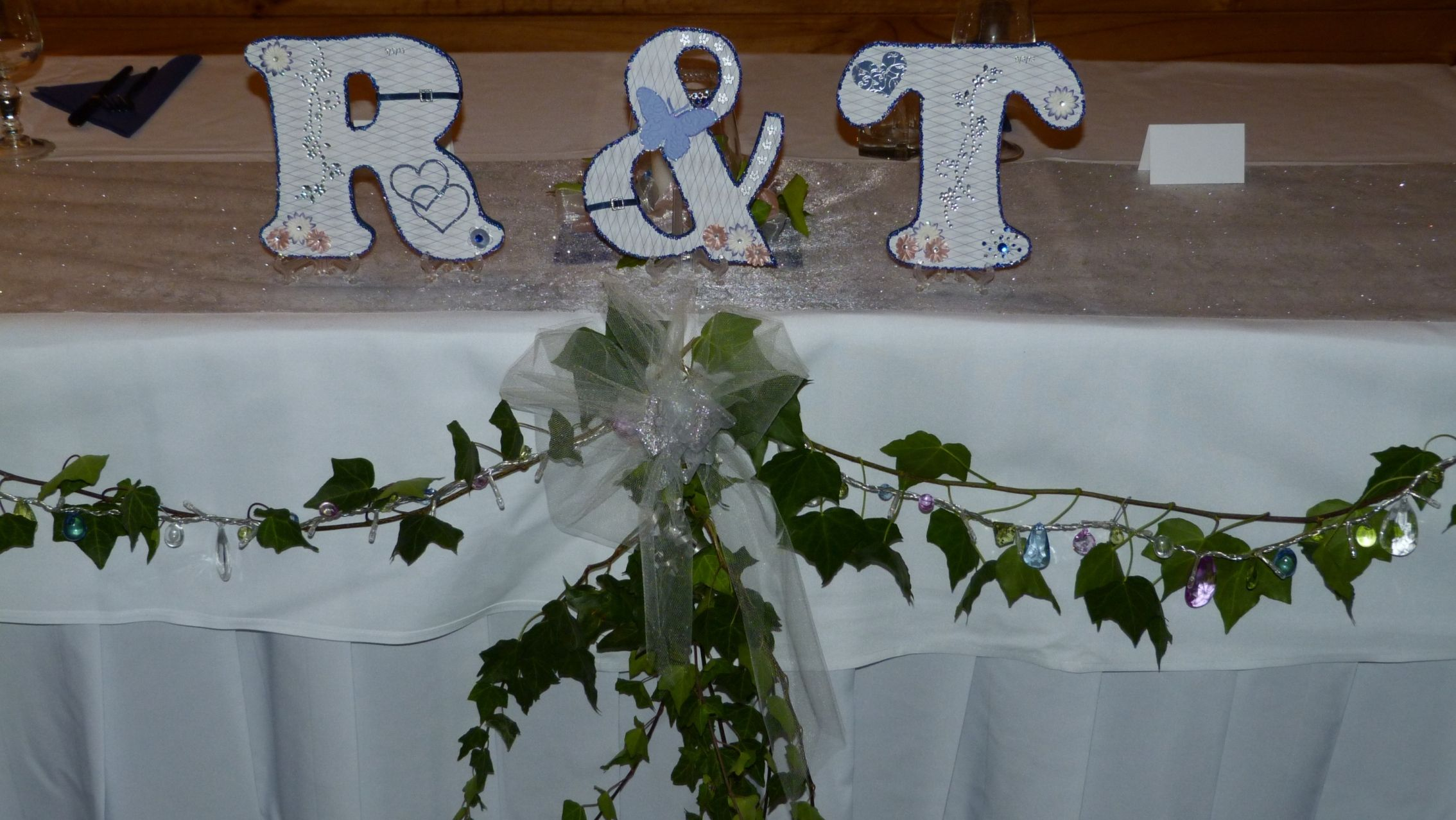 Decorated initials for the bridal table