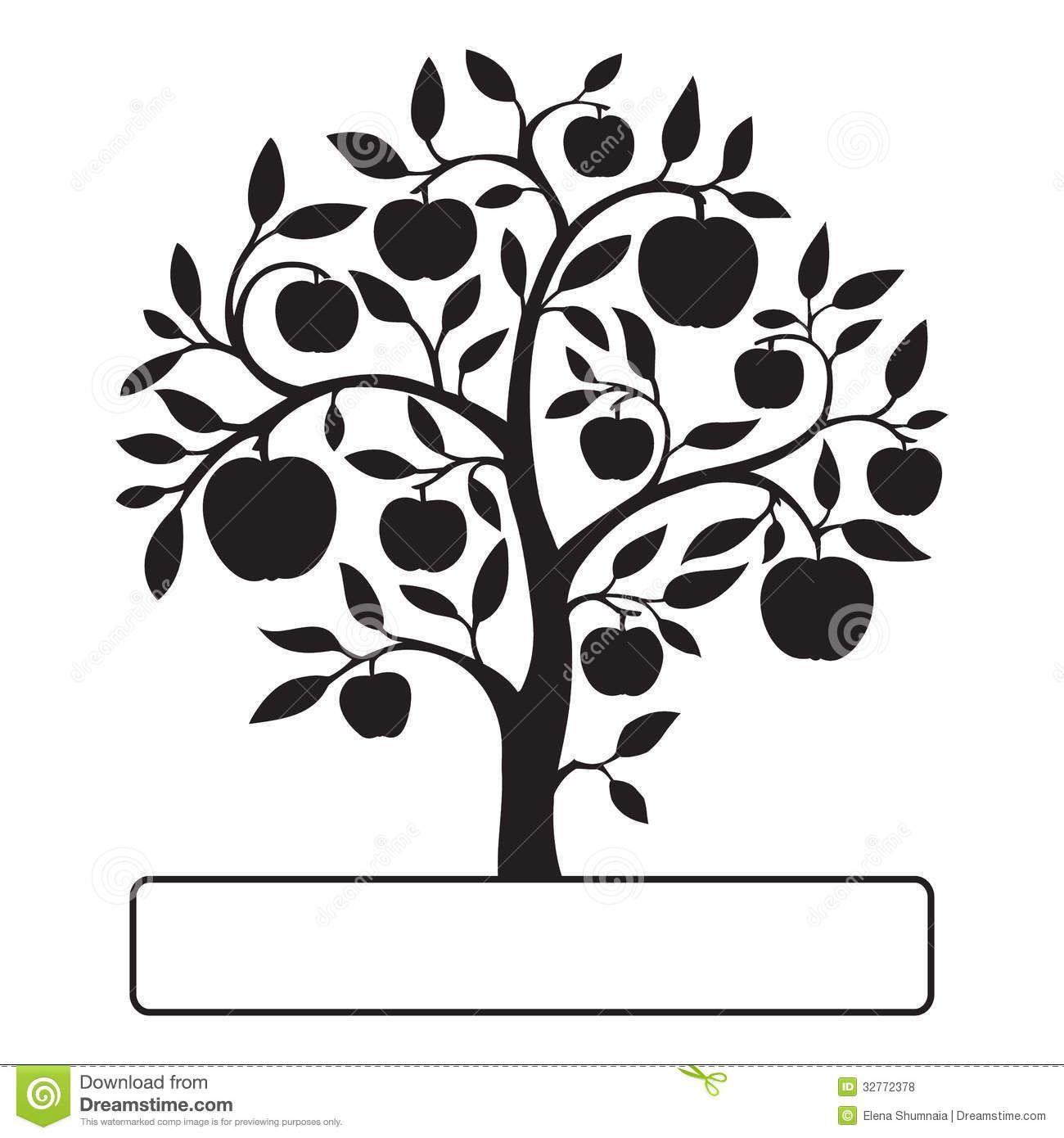 Images For Black And White Apple Trees Clipart Apple Tree Lemon Tree Tree Logos