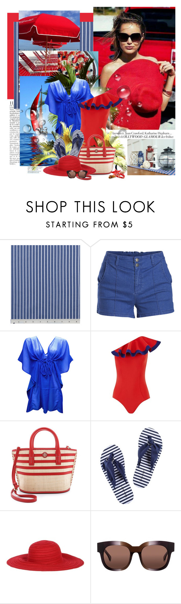 """""""Everyday Lovely♥ 2015/07/04"""" by erissa ❤ liked on Polyvore featuring Anja, Pieces, Lisa Marie Fernandez, Tory Burch, MARBELLA, AM Eyewear, BP., Summer, swimwear and sunglasses"""