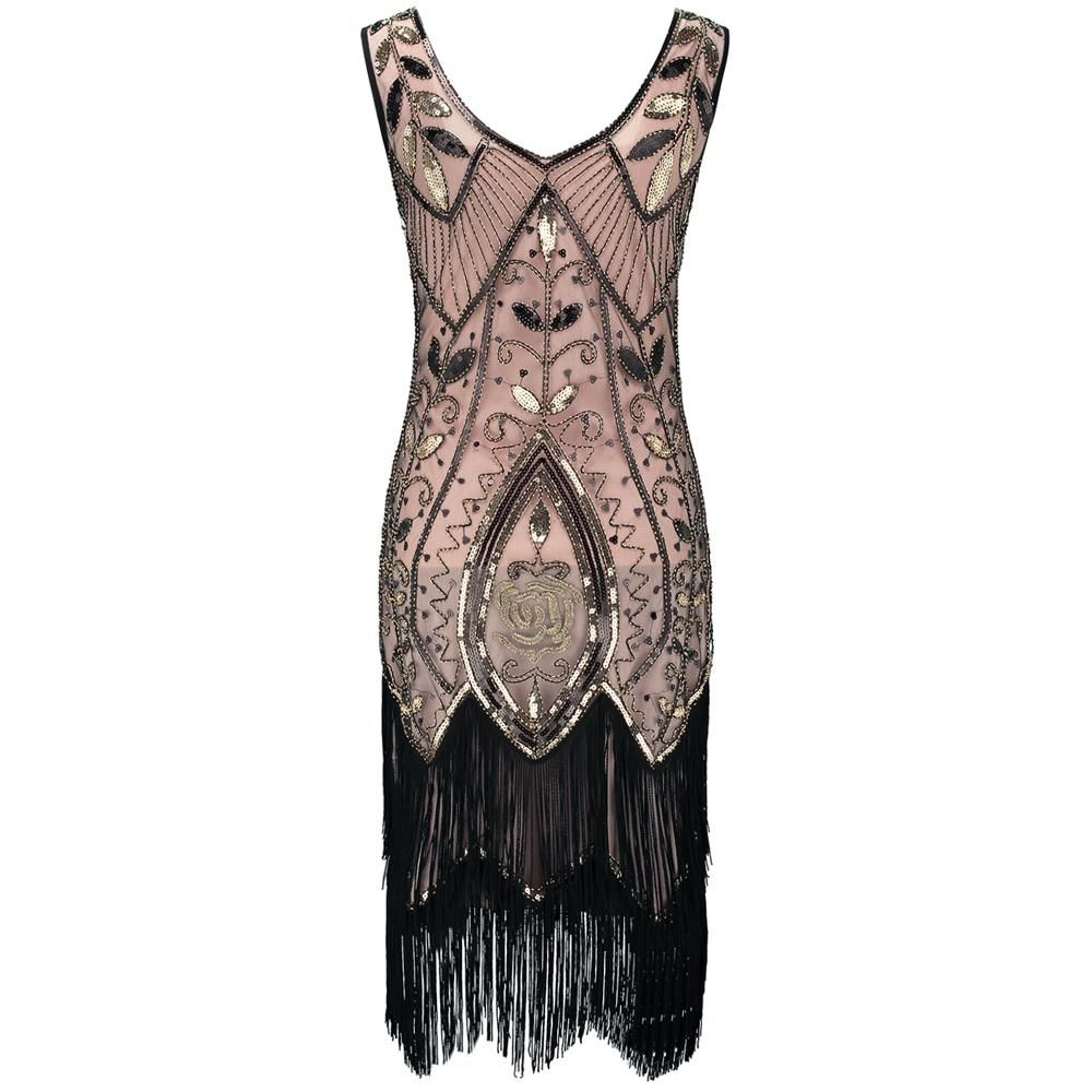 6738d7addaab 1920s Flapper Gatsby Gala V-neck Sleeveless Tiered Fringe Sequin Dress