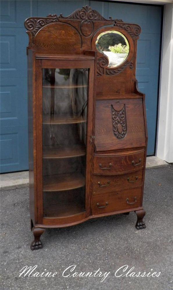 Antique Oak Side By Side Bow Front Bookcase Amp Desk Beveled