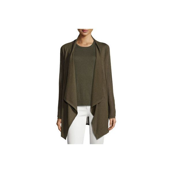 Neiman Marcus Cashmere Collection Piqu&-Knit Cashmere Cardigan ($325) ❤ liked on Polyvore featuring tops, cardigans, army, short-sleeve cardigan, open front knit cardigan, brown cashmere cardigan, brown open front cardigan and knit cardigan