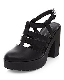 55be8419c44 Wide Fit Black Chunky Caged Block Heels
