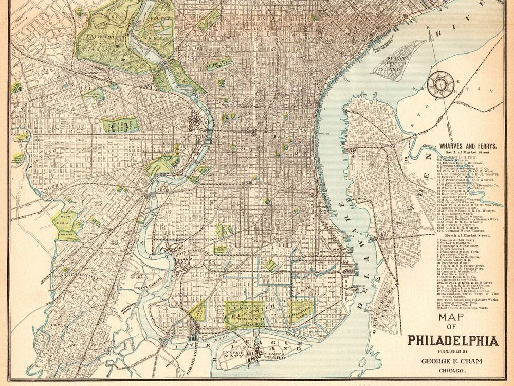 1903 Antique PHILADELPHIA MAP Vintage Collectible Map of ...
