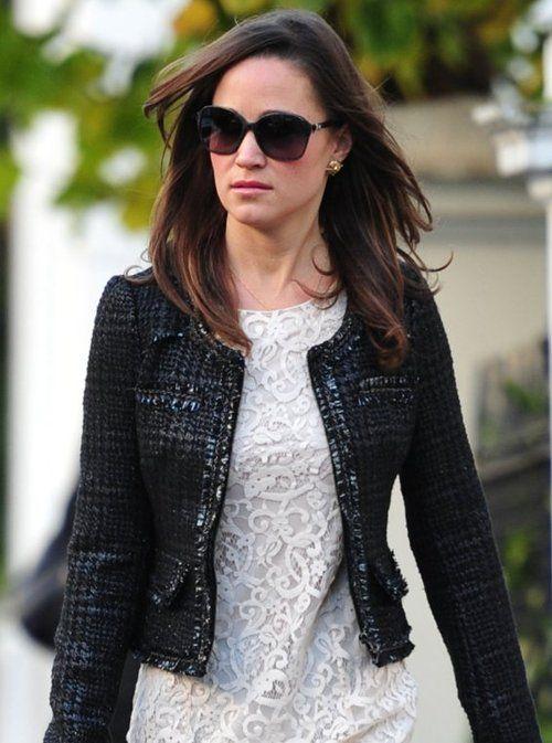 black woven blazer and white lace dress