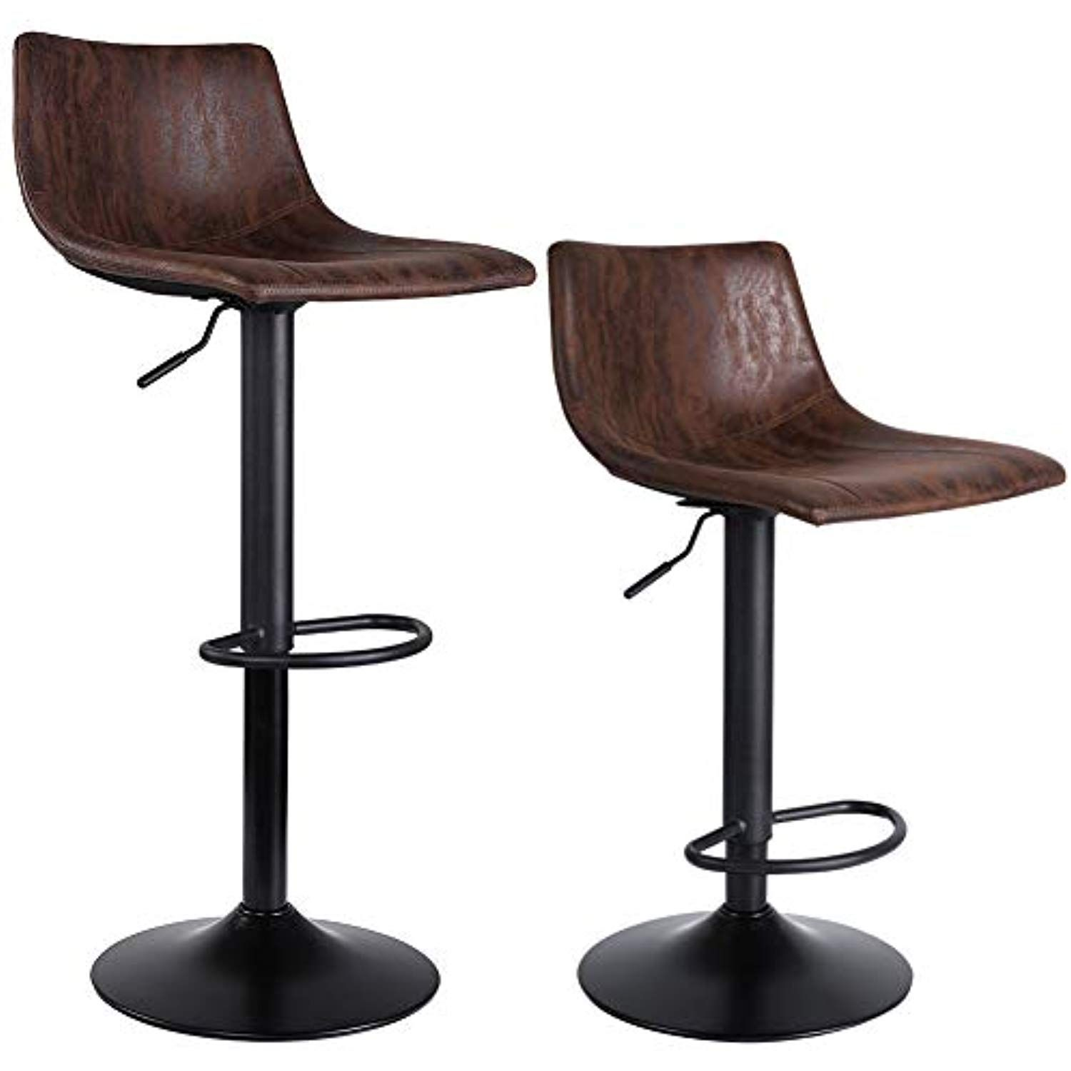 Superjare Set Of 2 Bar Stools Swivel Barstool Chairs With Back