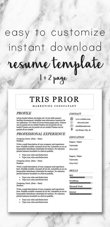 Professional Feminine Resume Template / One and Two Page Template - download resume template