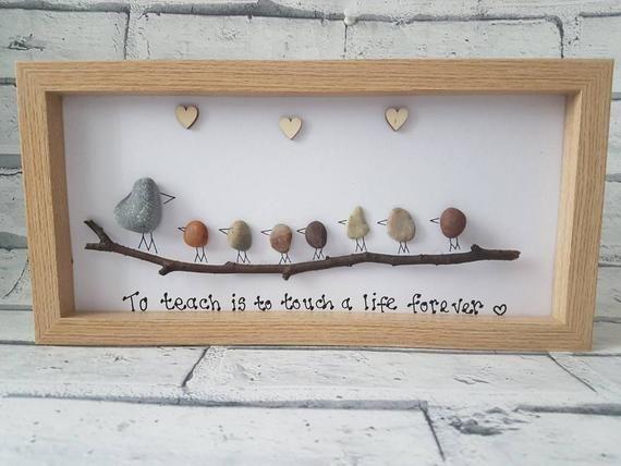 Lehrer Geschenk, Kiesel KunstRahmen, einzigartig, zu lehren ist, ein Leben für immer berühren, Ende des Begriffs Geschenk, #kieselsteinebilder