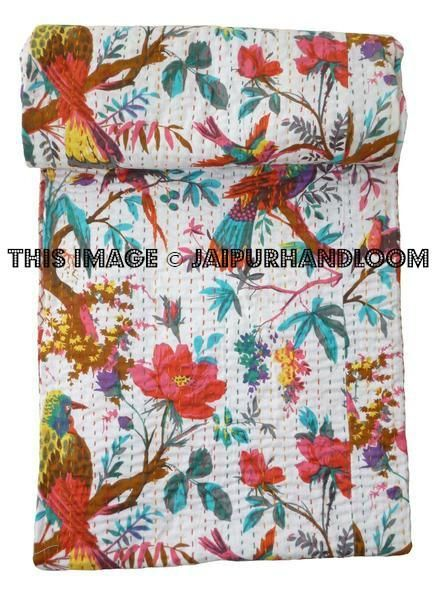 Kantha Quilts Queen Quilted Bedding Indian Sofa Cover