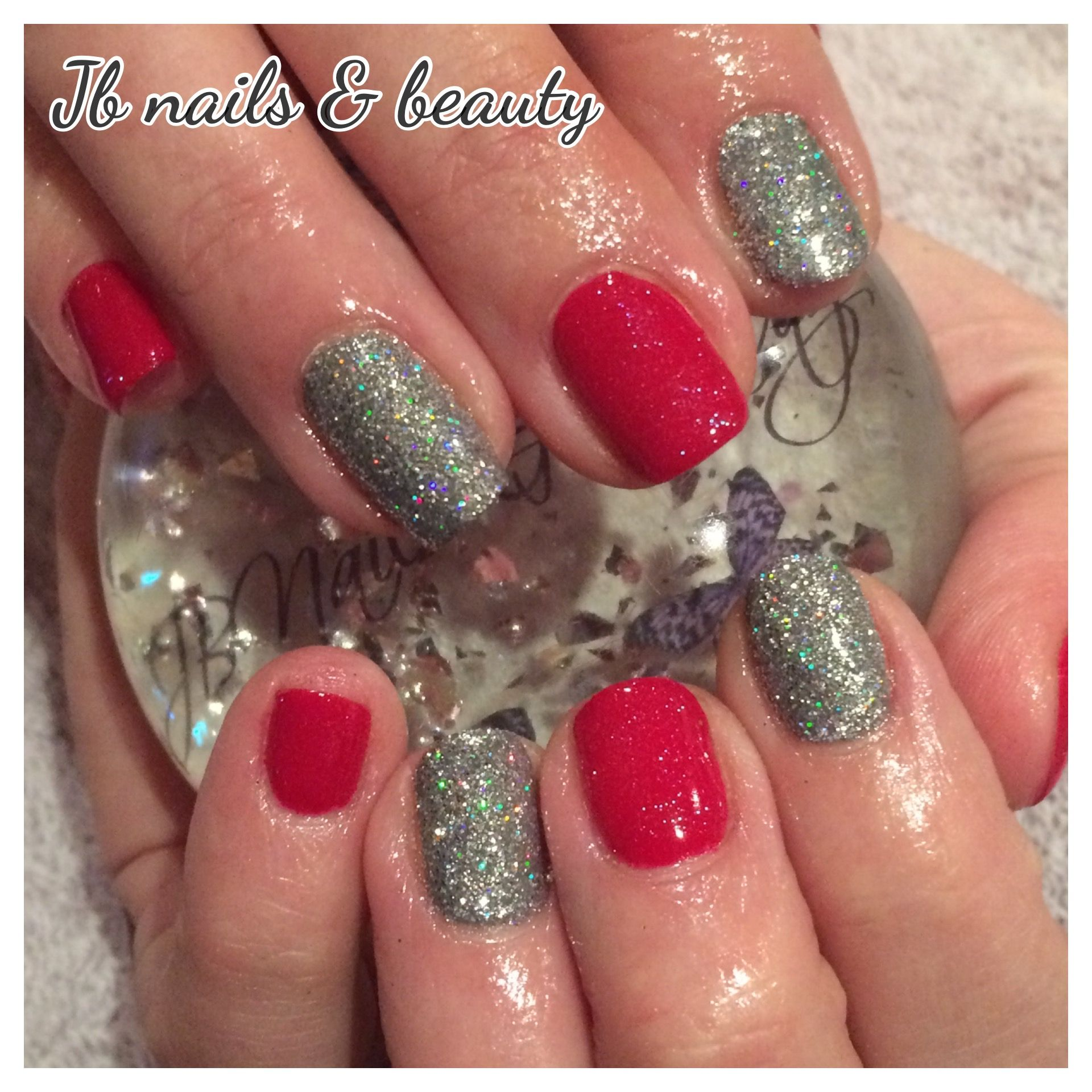 Red & silver gel polish on natural nails