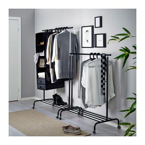 RIGGA Kledingrek , zwart IKEA Idee u00ebn voor de kamer Pinterest Ikea, Zwart en Slaapkamer