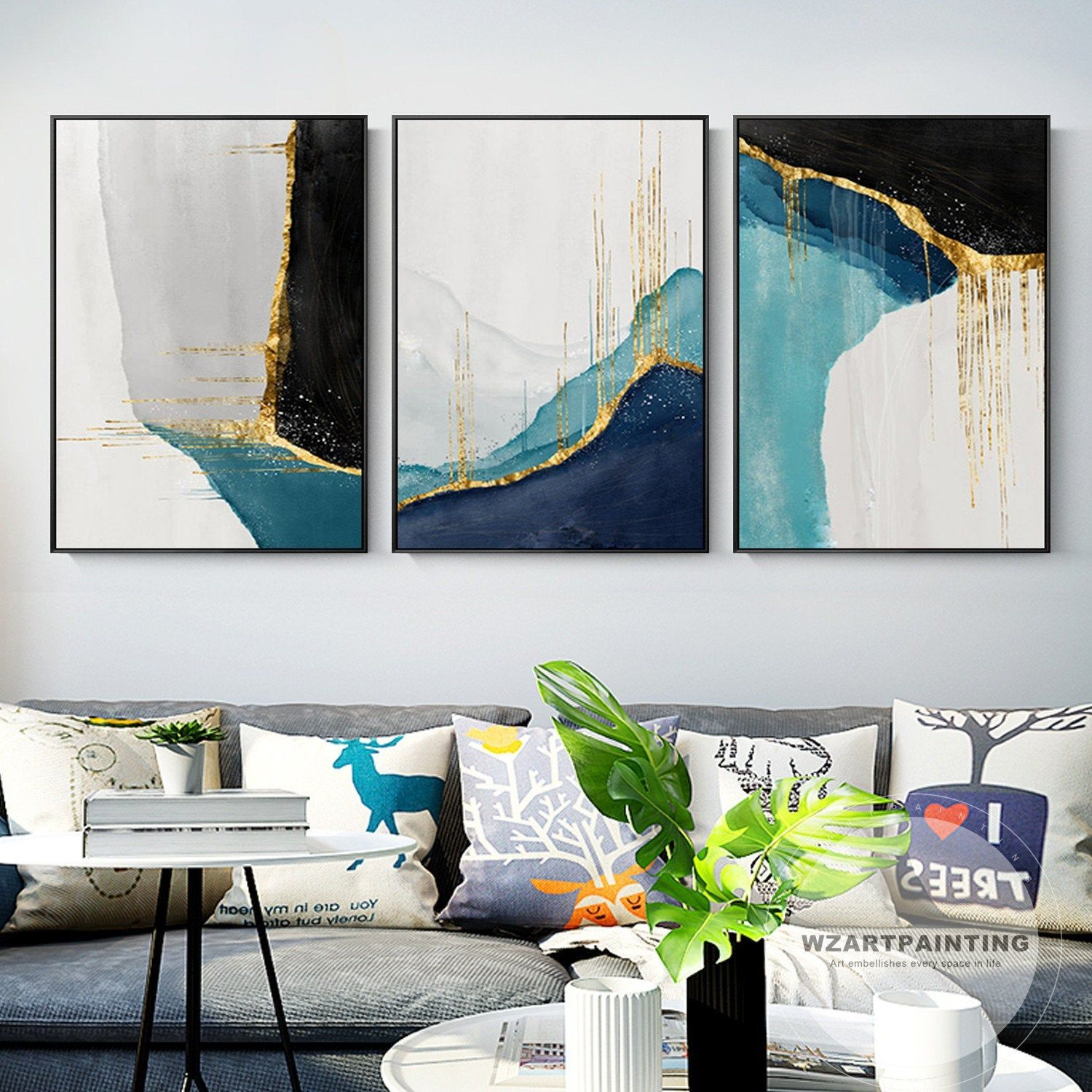 Set Of 3 Pieces Modern Geometric Abstract Gold Navy Blue Black Print Painting On Canvas Large Luxury Modern Art Prints Abstract Canvas Painting Framed Wall Art