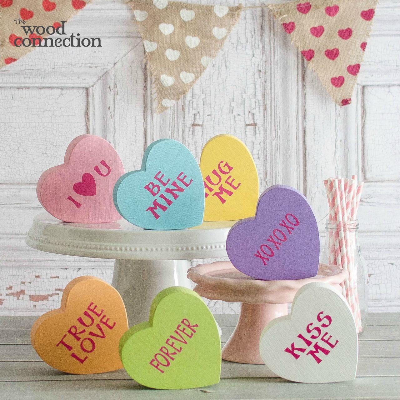 Small Conversation Hearts Valentine Wood Crafts Diy Valentines Decorations Spring Wood Crafts
