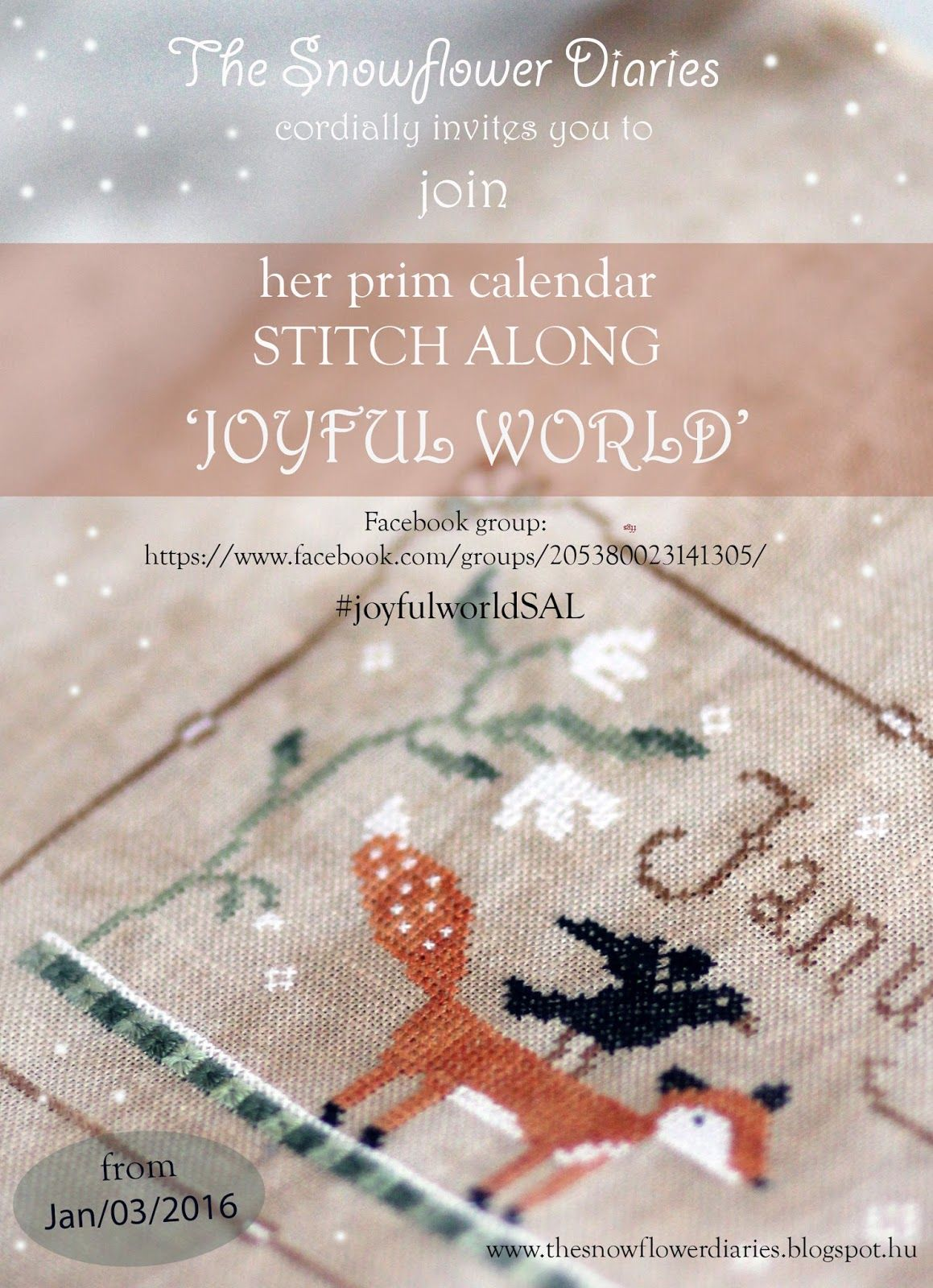 Dear Friends,      I am happy to invite you to my first stitch along!:-)      I have designed a primitive monthly calendar: JOYFUL WORL...