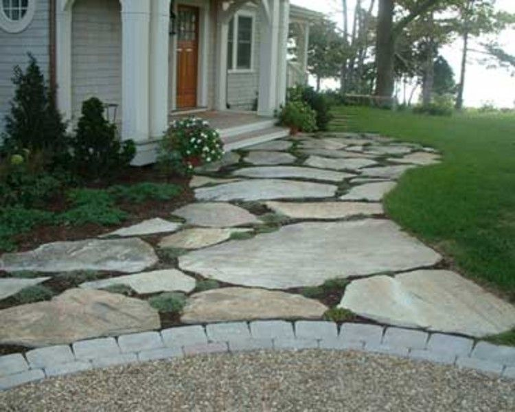 Enchanting Small Garden Landscape Ideas With Stepping Walk: Replacing The Concrete Sidewalk, Would