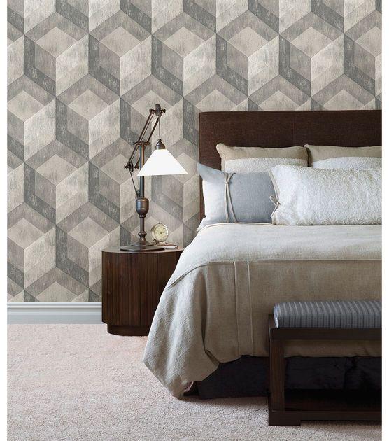 Wallpops Nuwallpaper Bauhaus Weathered Wood Peel And Stick Wallpaper Joann Jo Ann Geometric Wallpaper Weathered Wood Home