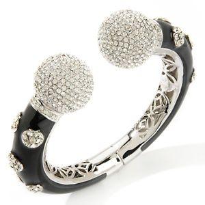 Joan Boyce Rhinestone & Black Enamel Bracelet