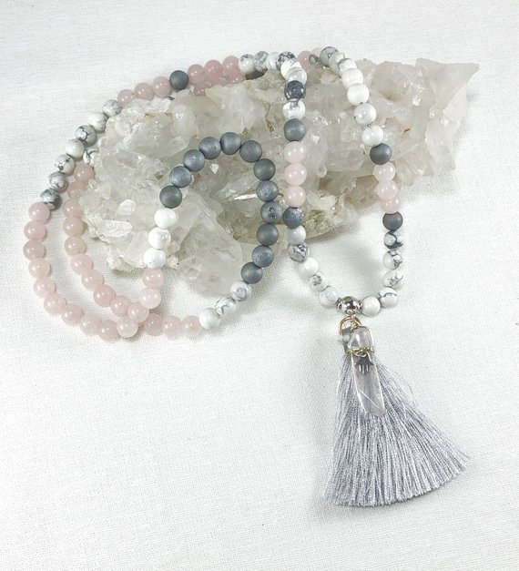 Rose quartz and white howlite beaded earrings