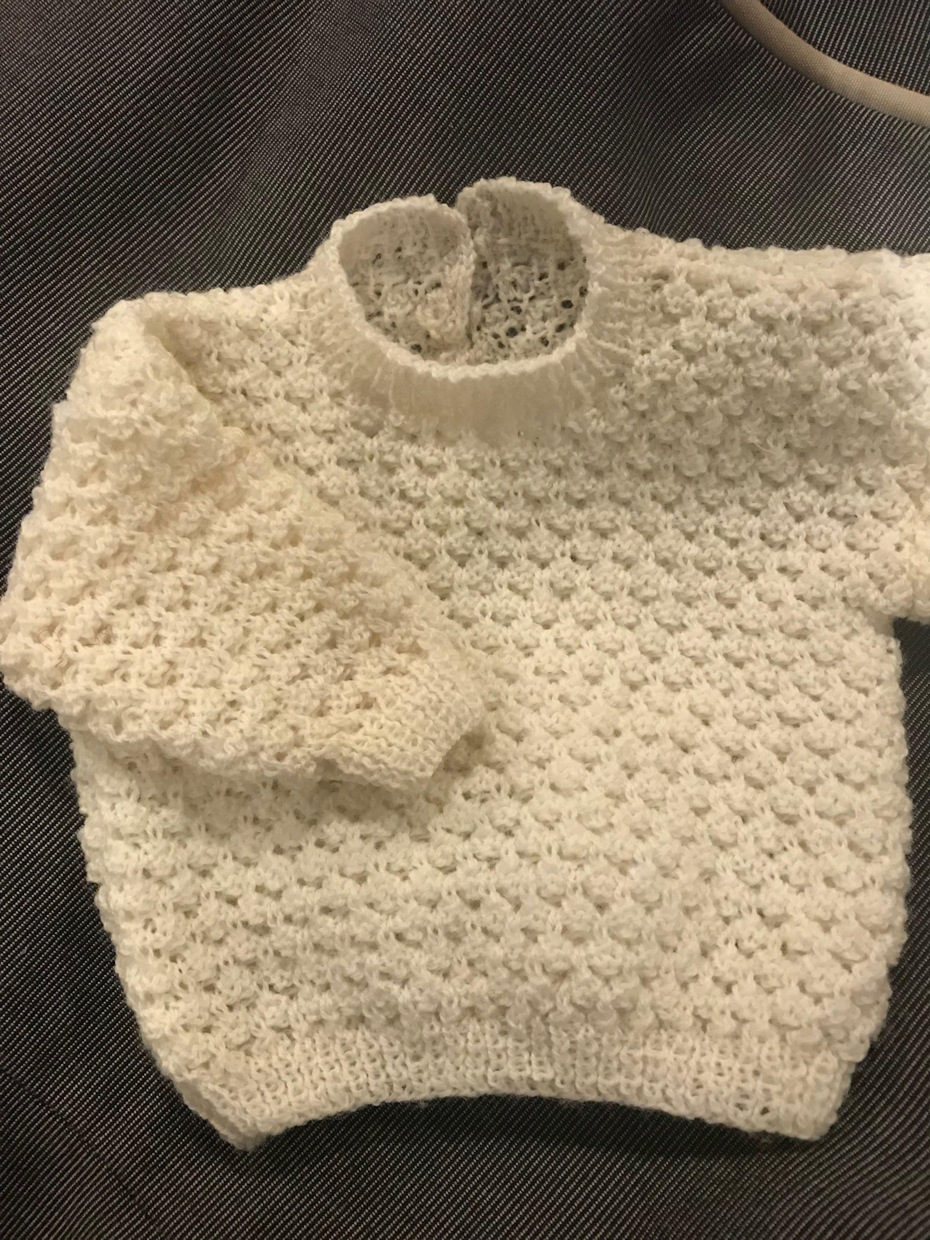 f3eb8ce87752 2ply cream merino newborn baby jumper