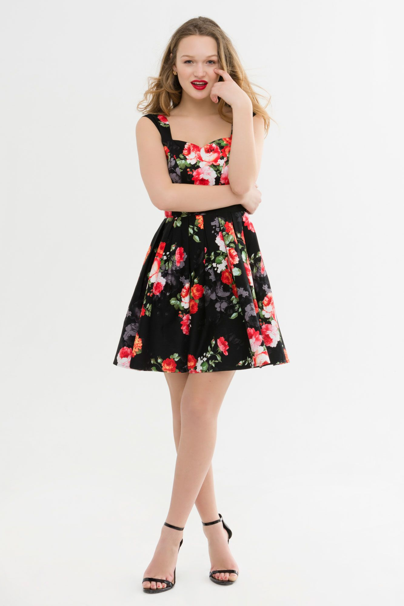 aa17fcd4fcd92 Floral Cotton Sateen Skater Dress - Suzy Shier