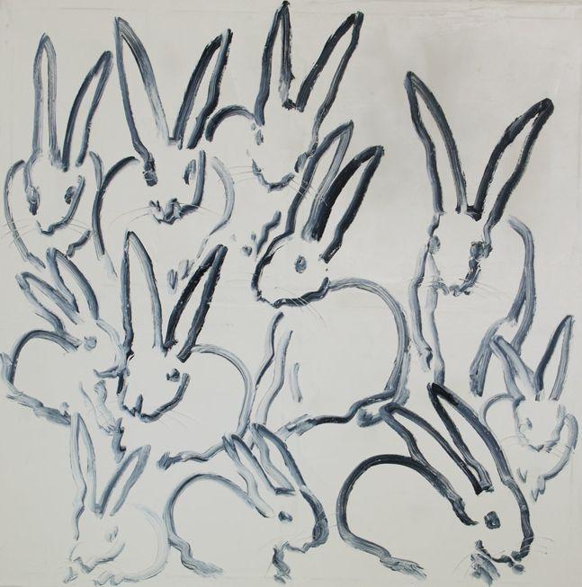 Hunt Slonem painting. Bunnies.