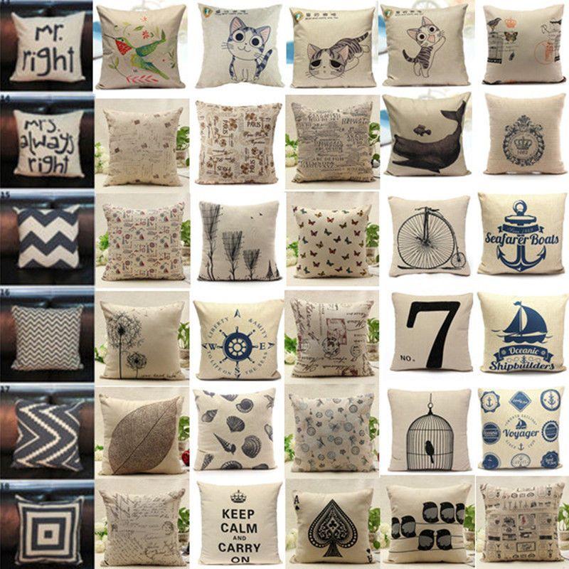 Fashion Vintage Cotton Linen Cushion Cover Throw Pillow Case Waist Home Decor #Unbranded