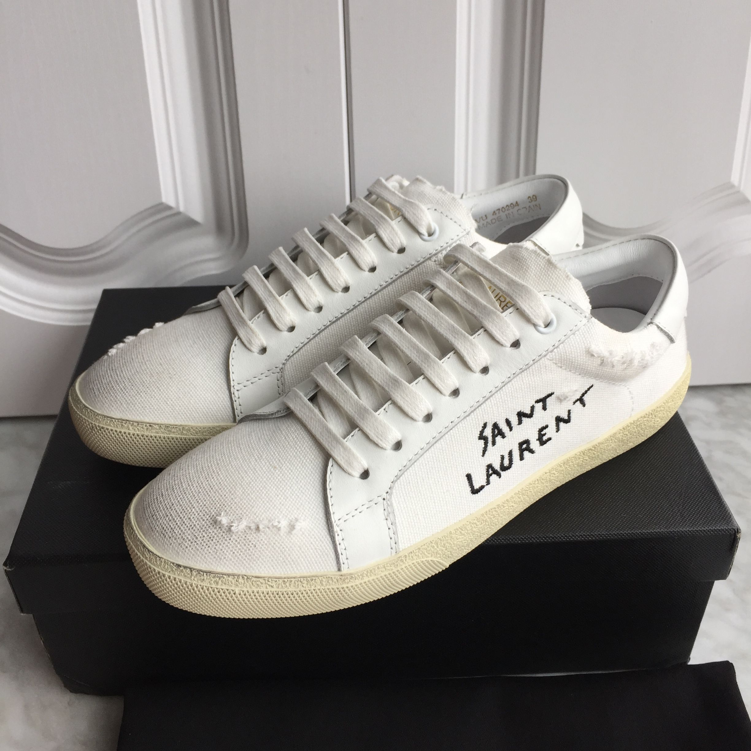 5c3efcfb573 Ysl Saint Laurent woman shoes canvas sneakers dirty old making design