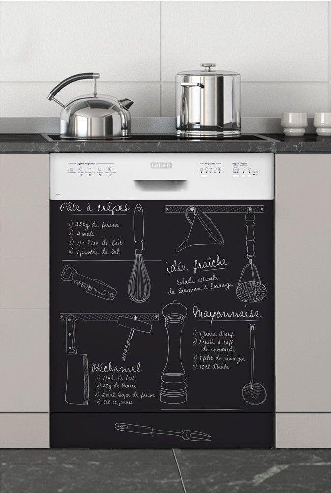 tableau noir sur la machine ou sur le frigo adh sif home decor pinterest tableau noir. Black Bedroom Furniture Sets. Home Design Ideas