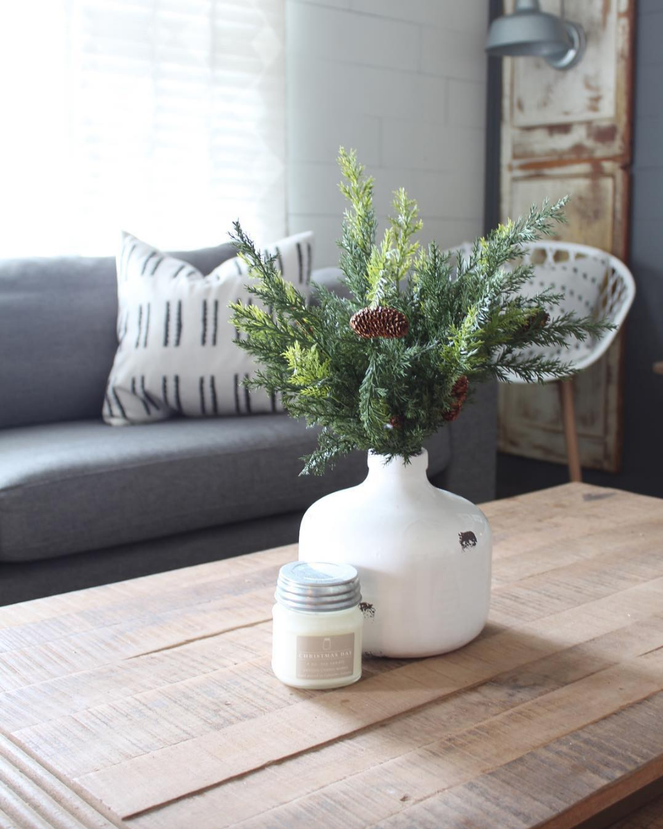 Modern Winter Decor Inspiration By Karli From The Alabama Farm Wife Home And Lifestyle Blog Christmas Scent Modern Winter Decor Mason Jar Candles Candle Decor
