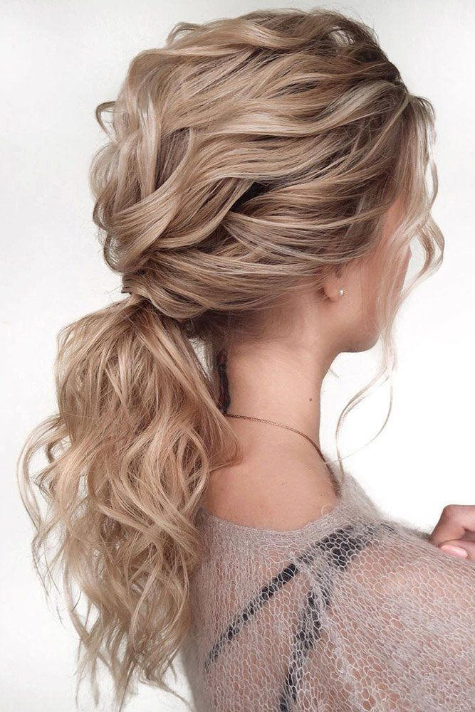 37 Modern Pony Tail Hairstyles Ideas For Wedding Wedding Forward In 2020 Tail Hairstyle Medium Hair Styles Curls For Long Hair