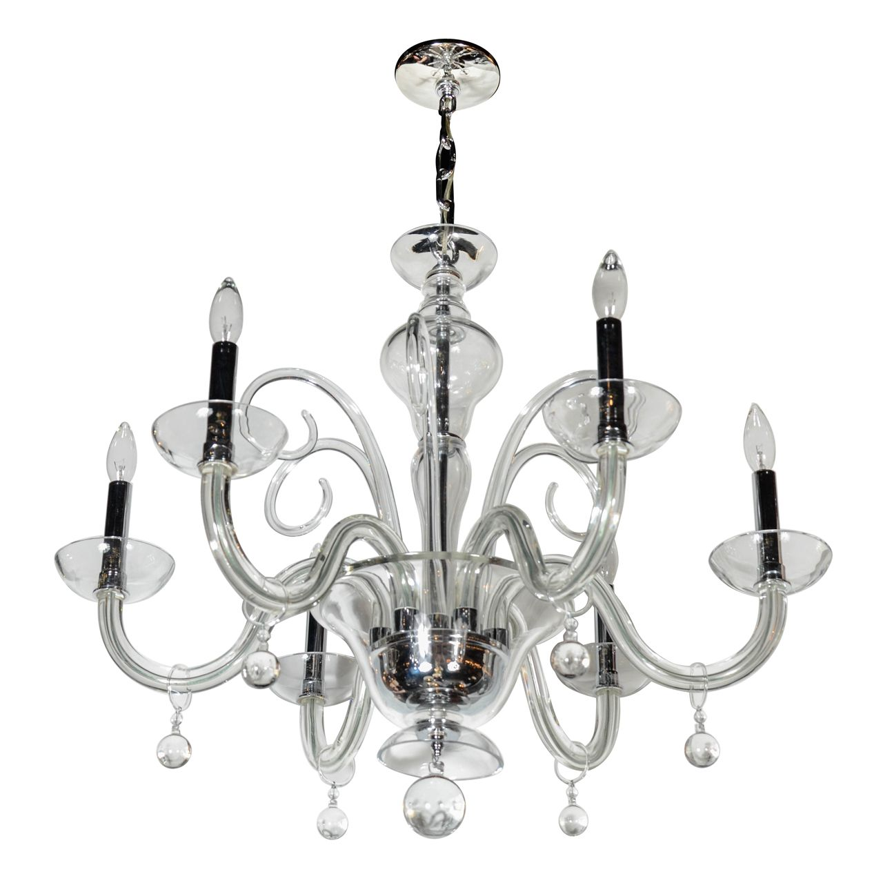 1stdibs Gorgeous Murano Glass Chandelier With Scroll Design