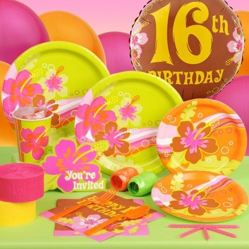 Aloha 16th Birthday Standard Party Pack For 8