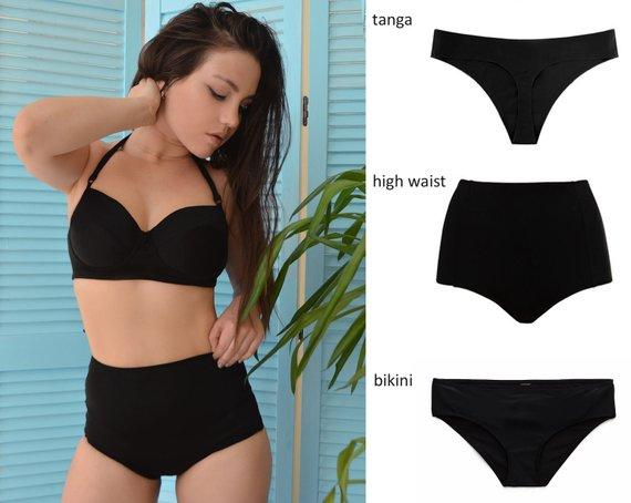 1e53623fbcbb4 High waisted cheeky tanga or bikini swimsuit set   High waisted Swimsuit    Cheeky bikini   Black bi