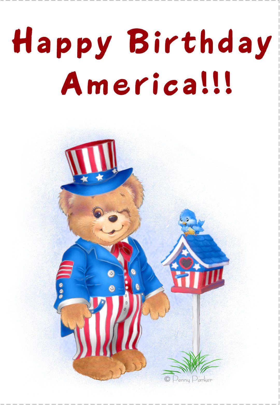 July4th Card Free Printable Happy Birthday America