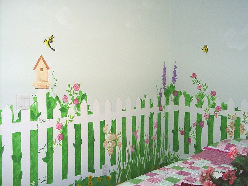 garden mural in my studio for my future house home sweet home decorating pinterest. Black Bedroom Furniture Sets. Home Design Ideas