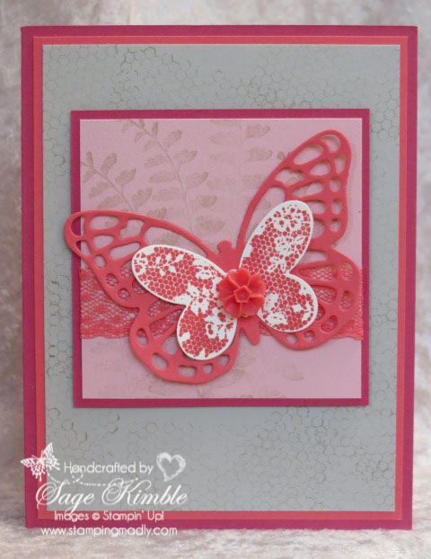 This handmade Butterfly Basics card uses Watermelon Wonder, as we continue the tour of the 2015 In Colors! http://stampingmadly.com/?p=4141