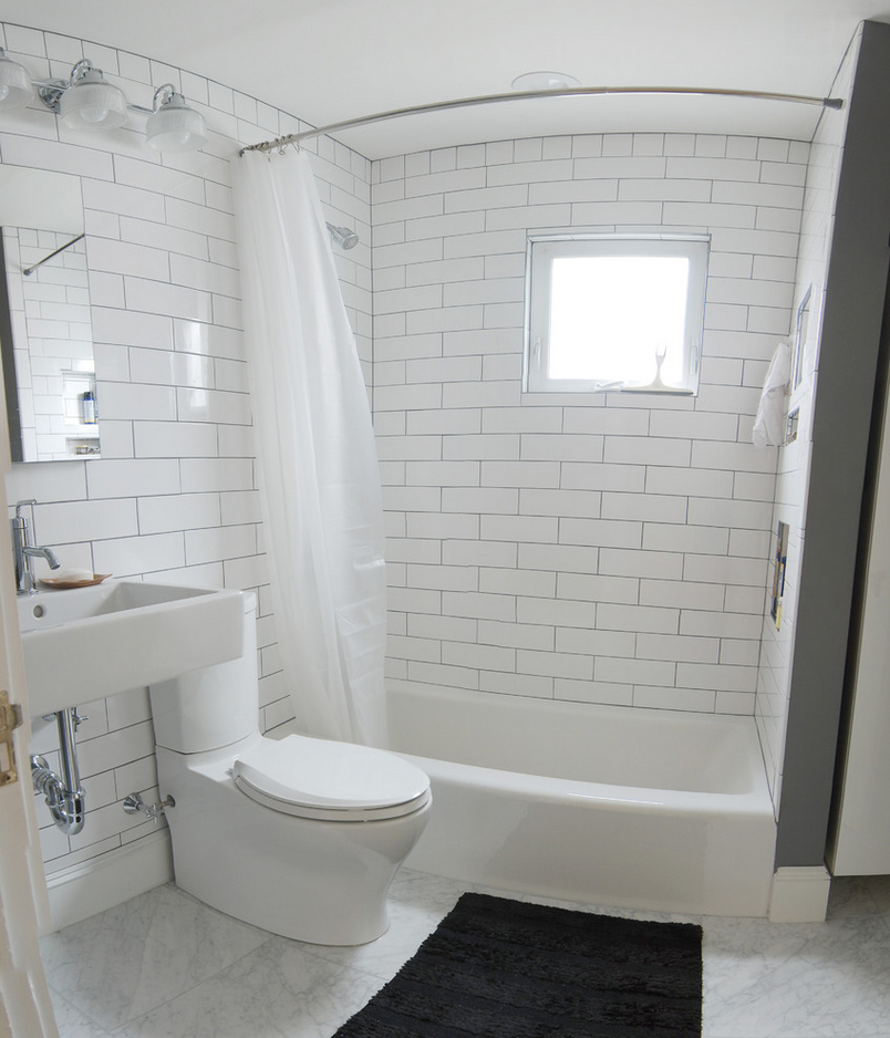 Houzz - Love The Classic White; Shower Curtain/rod