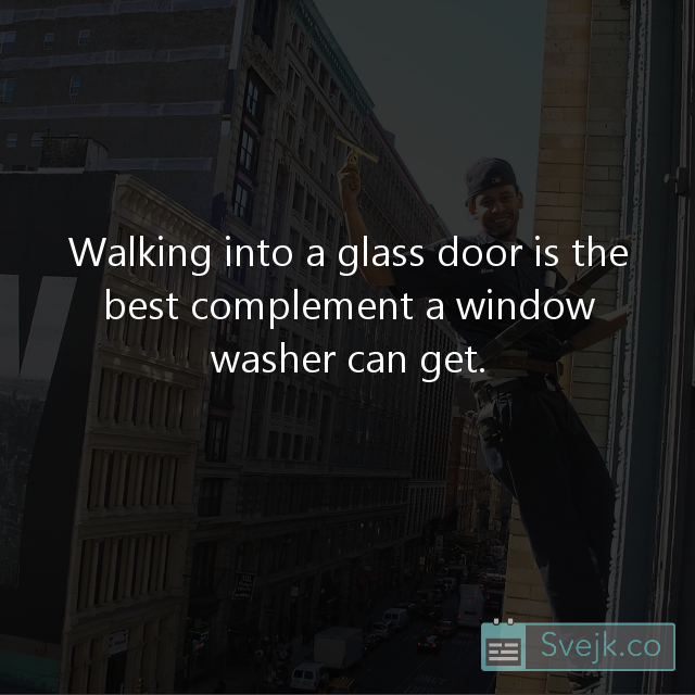 Walking Into A Glass Door Is The Best Compliment A Window Washer Can