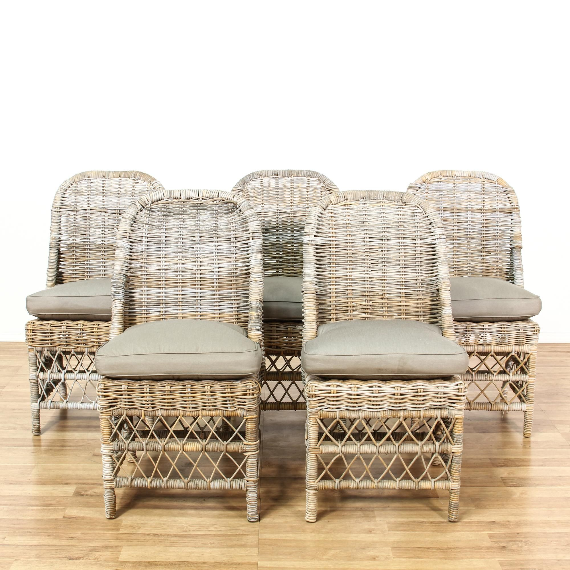 Set of 5 Driftwood Wicker Outdoor Patio Chairs This set of 5