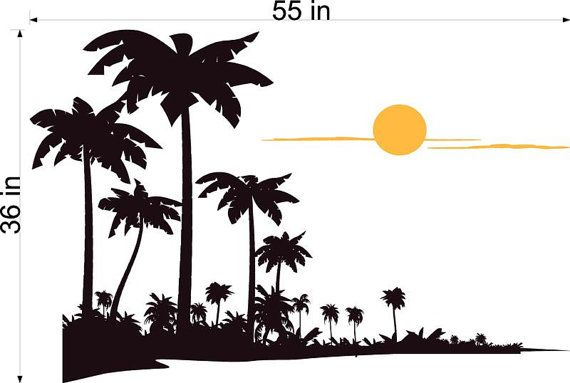 Palm Tree Surf Sunset Beach Summer Time Vinyl Wall by Bad2Designs, $45.95