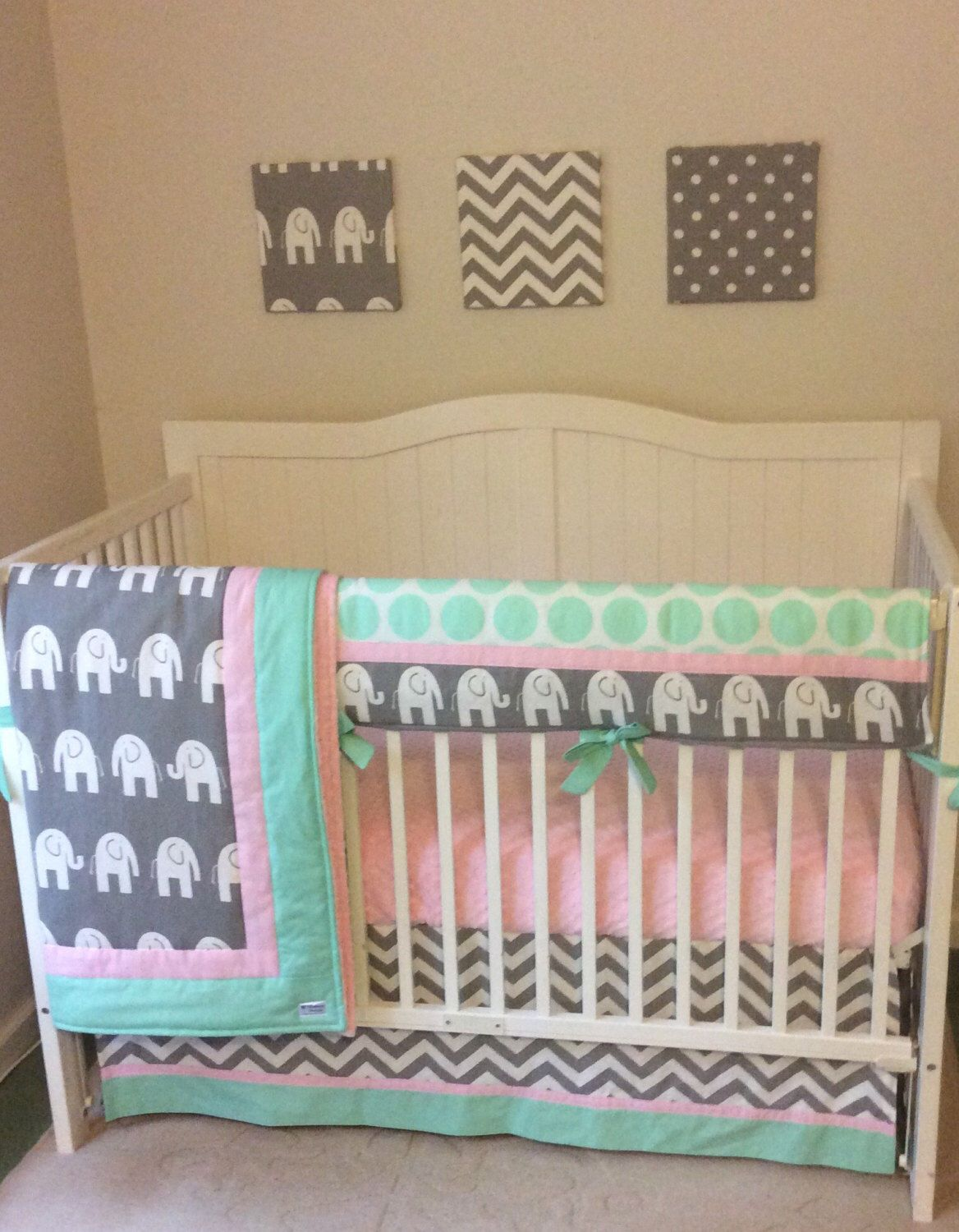 Pink Mint And Gray Baby Crib Bedding Https Www Etsy