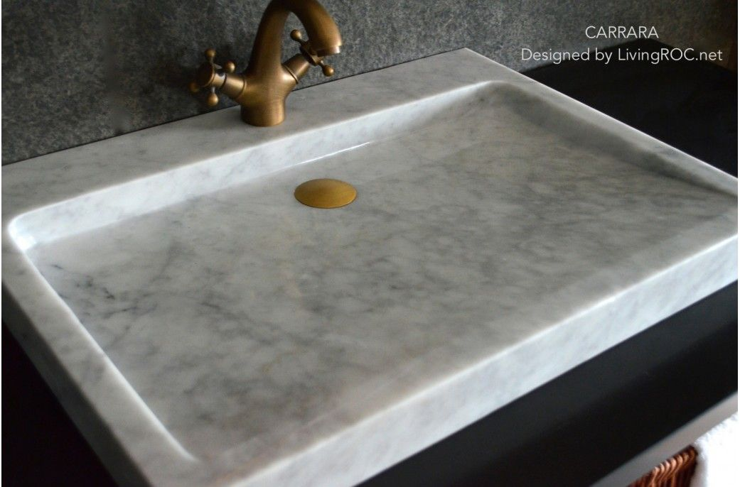 27-Inch White Marble bathroom Vessel Sink - CARRARA bathrooms - Vessel Sinks Bathroom