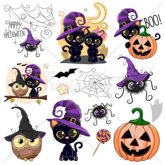 Halloween Clipart Halloween Witch Clipart Cute Digital Clipart Etsy Cute Halloween Drawings Halloween Clipart Witch Clipart