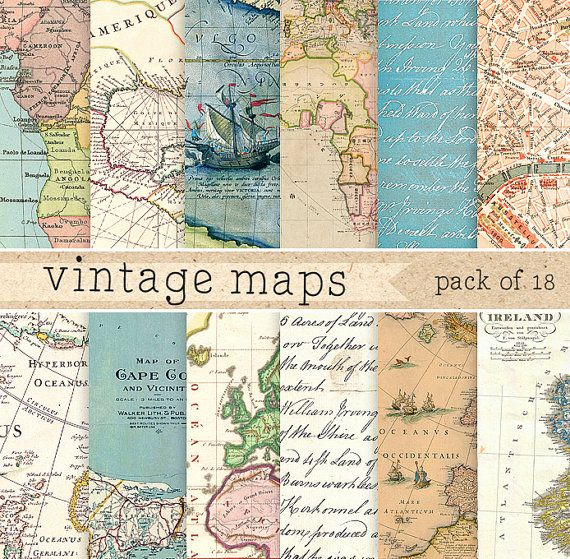 Vintage maps digital paper retro texture with vintage and antique vintage maps digital paper retro texture with vintage and antique maps of africa europe america world for scrapbooking invites cards gumiabroncs Image collections