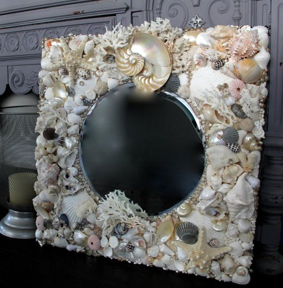 Beach Decor Large Shell Mirror Coastal Home By