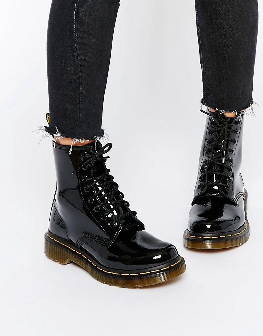Dr Martens Modern Classics 1460 Patent 8 Eye Boots Black Black Patent Leather Boots Patent Leather Boots Leather Lace Up Boots
