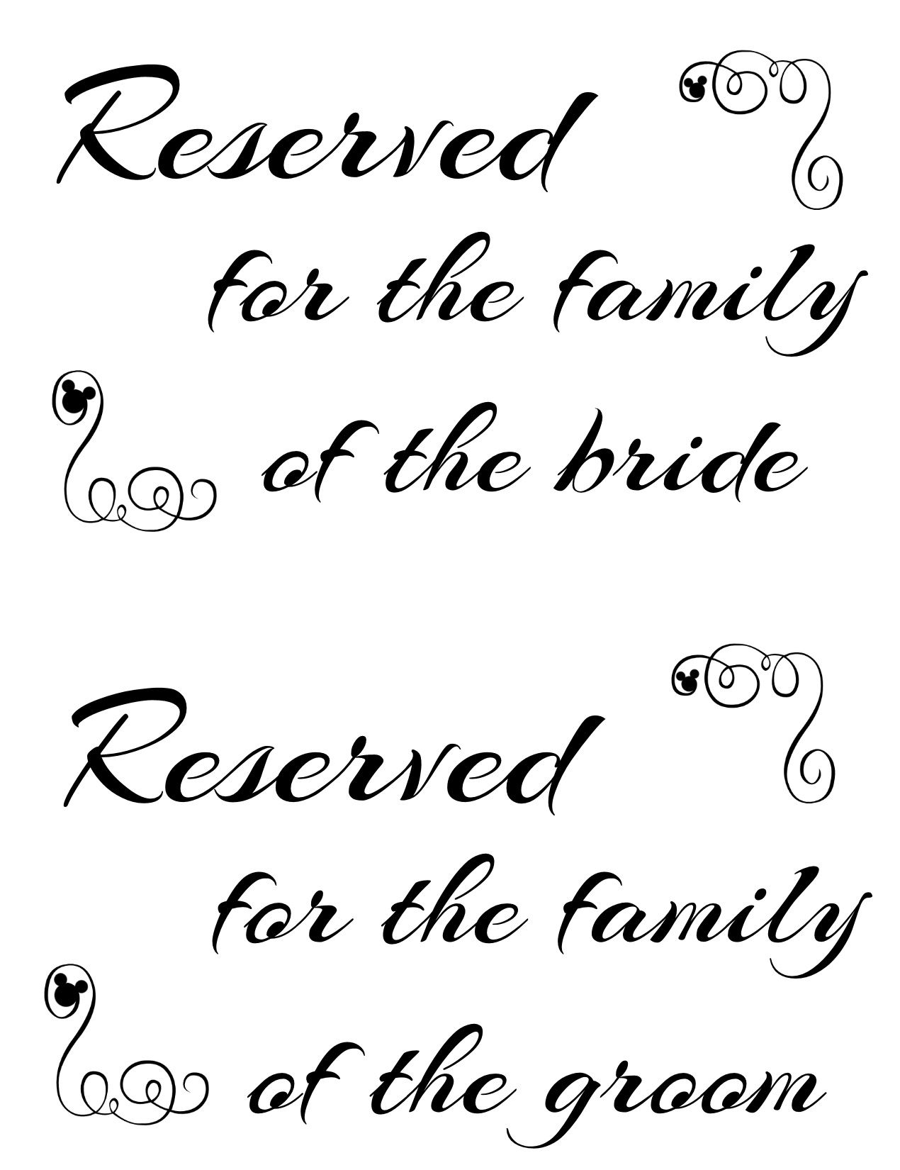 image about Wedding Signs Printable identified as Cost-free Printable Reserved Seating Indications for Your Marriage